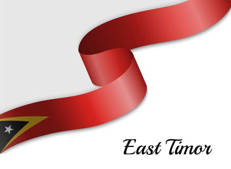 waving ribbon flag of East Timor. Template for independence day banner