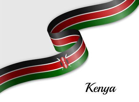 sventolando la bandiera del nastro del Kenya. Modello per il banner del giorno dell'indipendenza