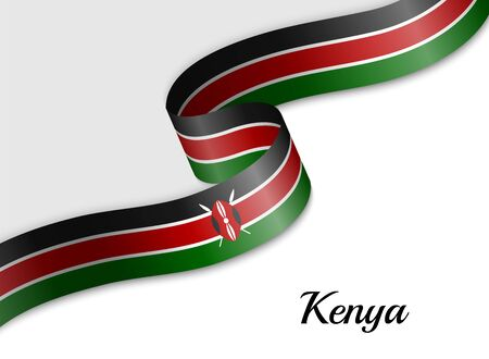 waving ribbon flag of Kenya. Template for independence day banner
