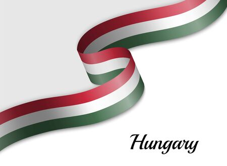 waving ribbon flag of Hungary. Template for independence day banner