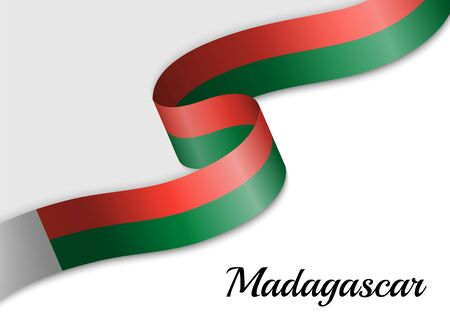 waving ribbon flag of Madagascar. Template for independence day banner Фото со стока - 139561205