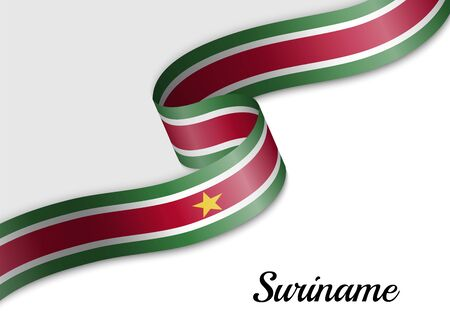 waving ribbon flag of Suriname. Template for independence day banner