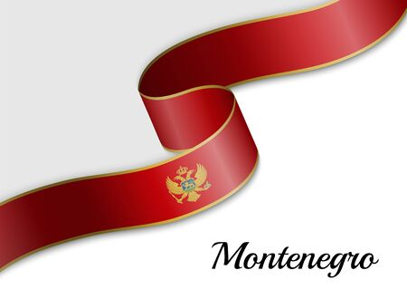 waving ribbon flag of Montenegro. Template for independence day banner