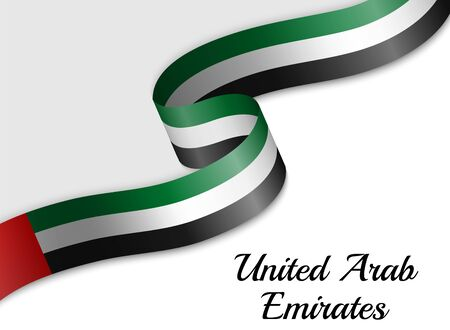waving ribbon flag of United Arab Emirates. Template for independence day banner 일러스트
