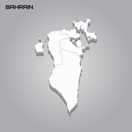Carte 3d de Bahreïn avec les frontières des régions. Illustration vectorielle