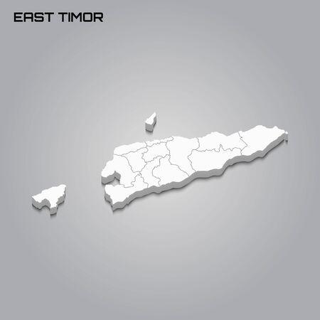 East Timor 3d map with borders of regions. Vector illustration Иллюстрация