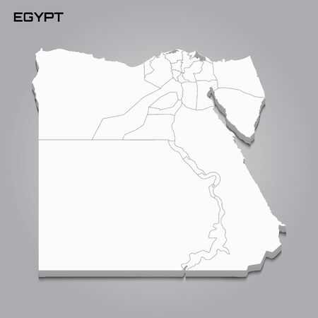Egypt 3d map with borders of regions. Vector illustration