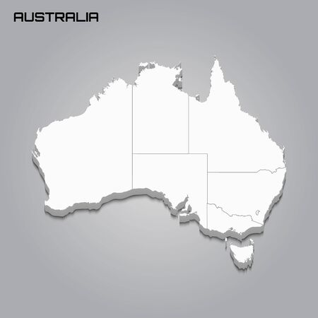 Australia 3d map with borders of regions. Vector illustration