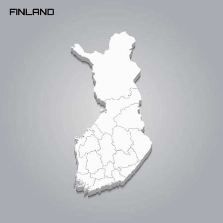 Finland 3d map with borders of regions. Vector illustration 向量圖像