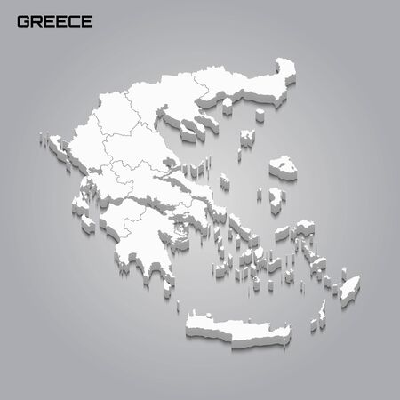 Greece 3d map with borders of regions. Vector illustration