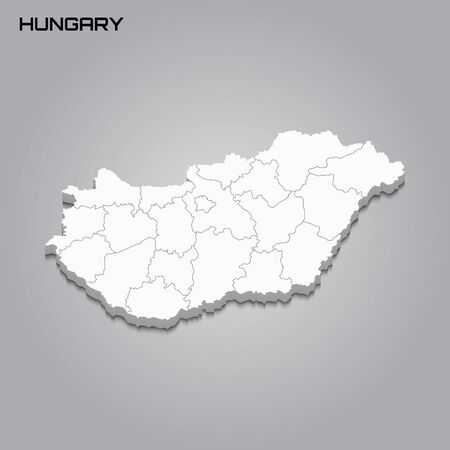 Hungary 3d map with borders of regions. Vector illustration