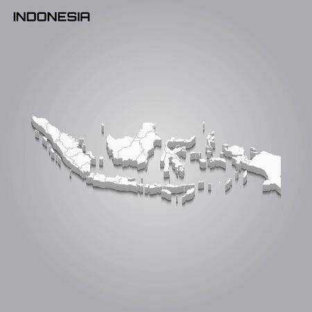 Indonesia 3d map with borders of regions. Vector illustration