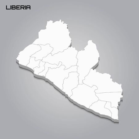 Liberia 3d map with borders of regions. Vector illustration