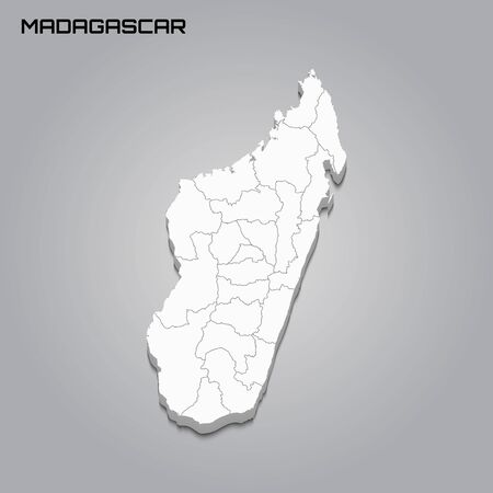 Madagascar 3d map with borders of regions. Vector illustration