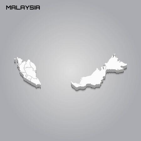 Malaysia 3d map with borders of regions. Vector illustration Vektoros illusztráció