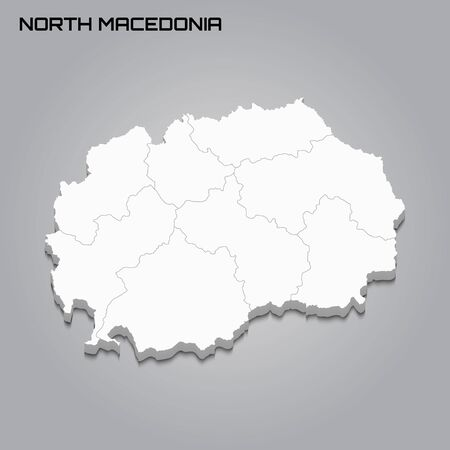 North Macedonia 3d map with borders of regions. Vector illustration