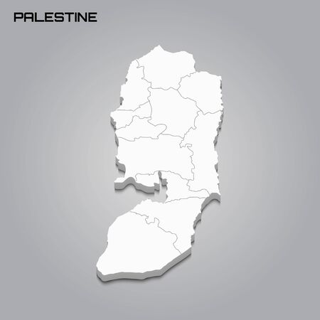 Palestine 3d map with borders of regions. Vector illustration 向量圖像