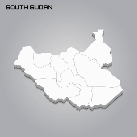 South Sudan 3d map with borders of regions. Vector illustration