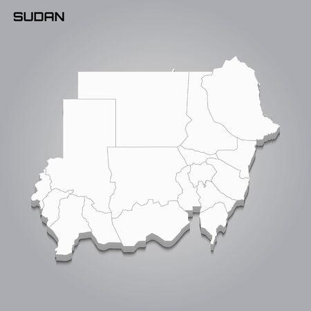 Sudán mapa 3d con fronteras de regiones. Ilustración vectorial