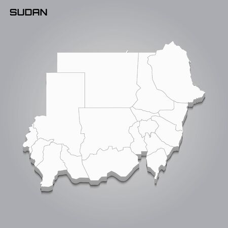 Sudan 3d map with borders of regions. Vector illustration