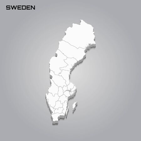 Sweden 3d map with borders of regions. Vector illustration