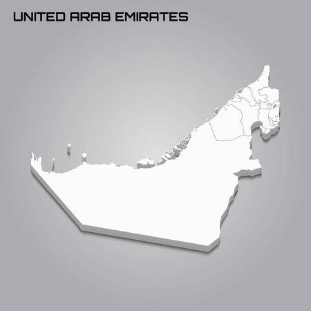 United Arab Emirates 3d map with borders of regions. Vector illustration 일러스트