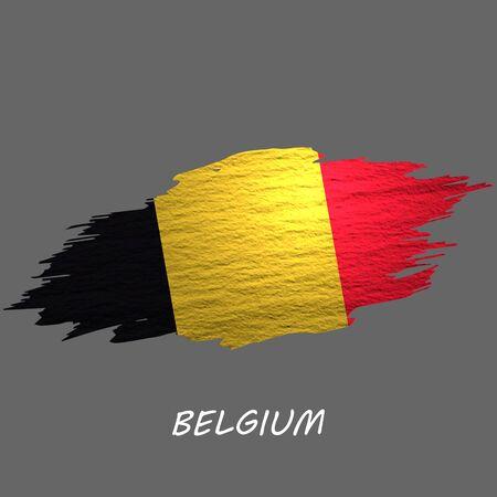 Grunge styled flag of Belgium. Brush stroke background Ilustrace
