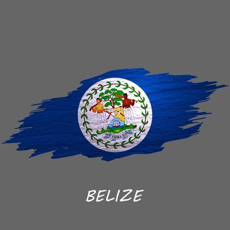 Grunge styled flag of Belize. Brush stroke background