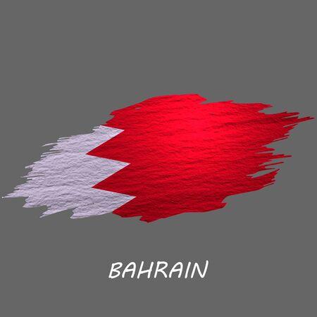 Grunge styled flag of Bahrain. Brush stroke background