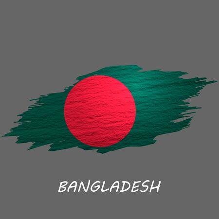 Grunge styled flag of Bangladesh. Brush stroke background