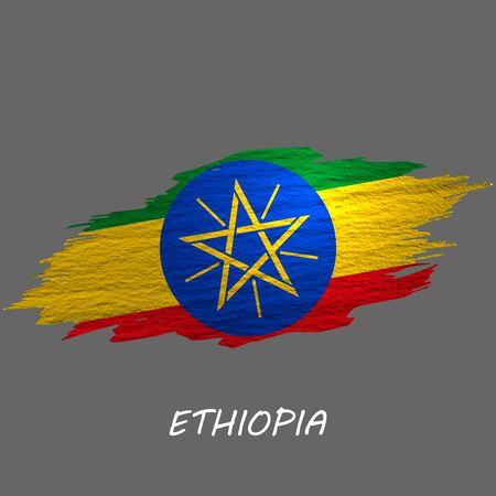 Grunge styled flag of Ethiopia. Brush stroke background