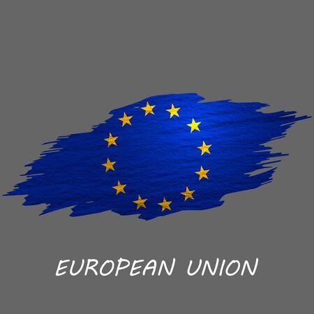 Grunge styled flag of European Union. Brush stroke background