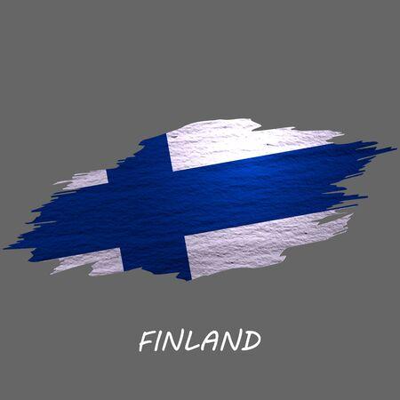 Grunge styled flag of Finland. Brush stroke background Ilustrace