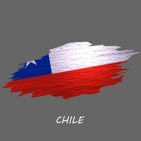Grunge styled flag of Chile. Brush stroke background