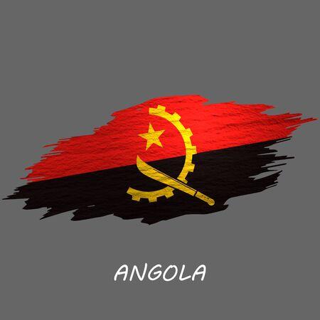 Grunge styled flag of Angola. Brush stroke background
