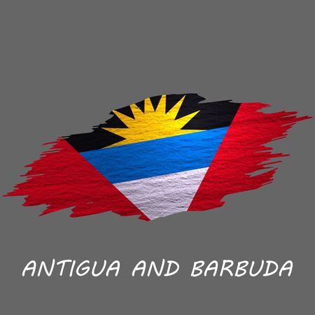 Grunge styled flag of Antigua and Barbuda. Brush stroke background Ilustrace