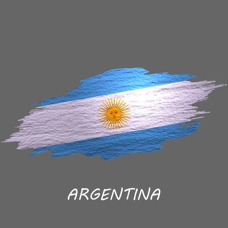 Grunge styled flag of Argentina. Brush stroke background Ilustrace