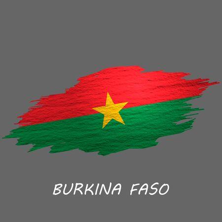 Grunge styled flag of Burkina Faso. Brush stroke background