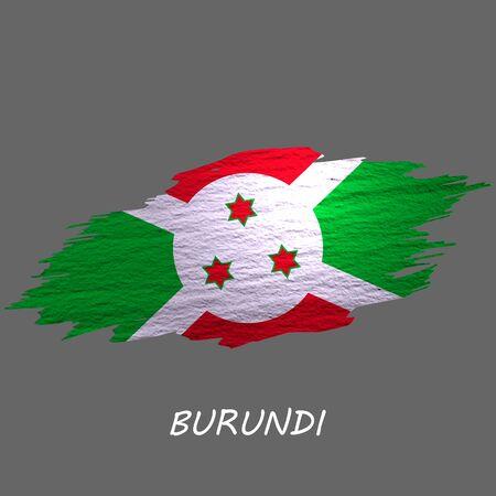 Grunge styled flag of Burundi. Brush stroke background