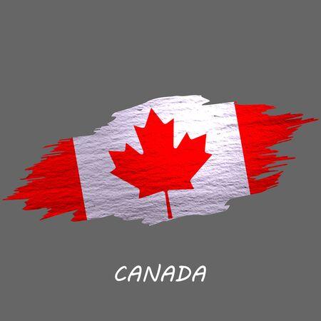 Grunge styled flag of Canada. Brush stroke background