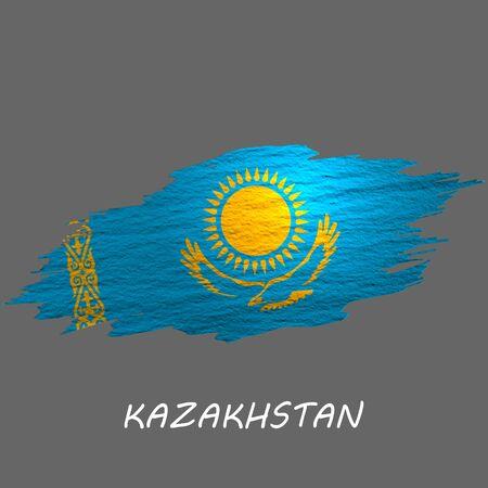 Grunge styled flag of Kazakhstan. Brush stroke background