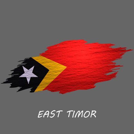 Grunge styled flag of East Timor. Brush stroke background Ilustrace