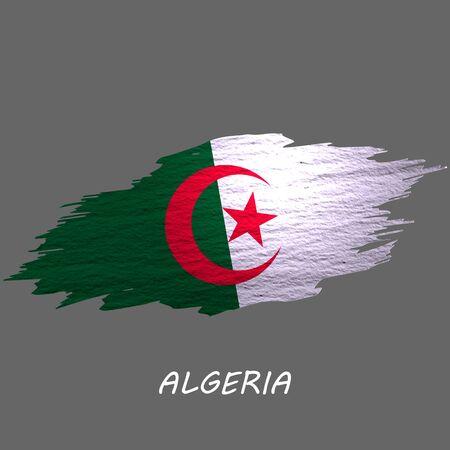 Grunge styled flag of Algeria. Brush stroke background