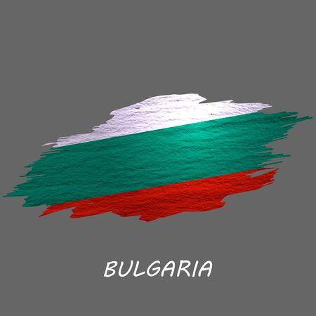 Grunge styled flag of Bulgaria. Brush stroke background