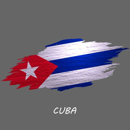 Grunge styled flag of Cuba. Brush stroke background
