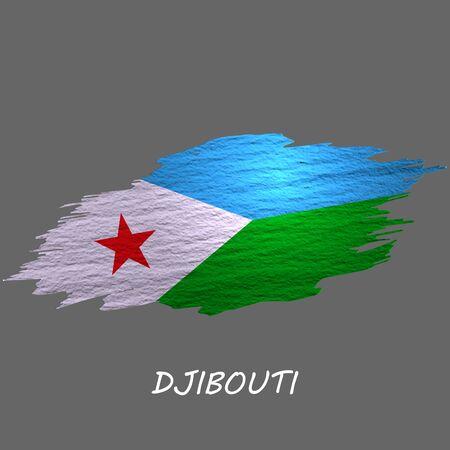 Grunge styled flag of Djibouti. Brush stroke background Ilustrace