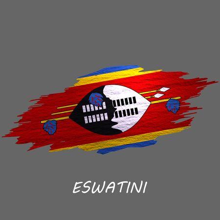 Grunge styled flag of Eswatini. Brush stroke background