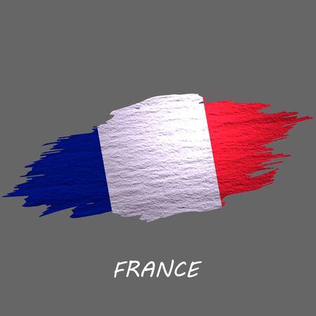 Grunge styled flag of France, french. Brush stroke background Ilustrace