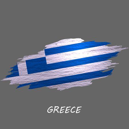 Grunge styled flag of Greece, Greek. Brush stroke background