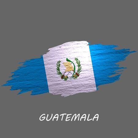 Grunge styled flag of Guatemala. Brush stroke background Ilustrace
